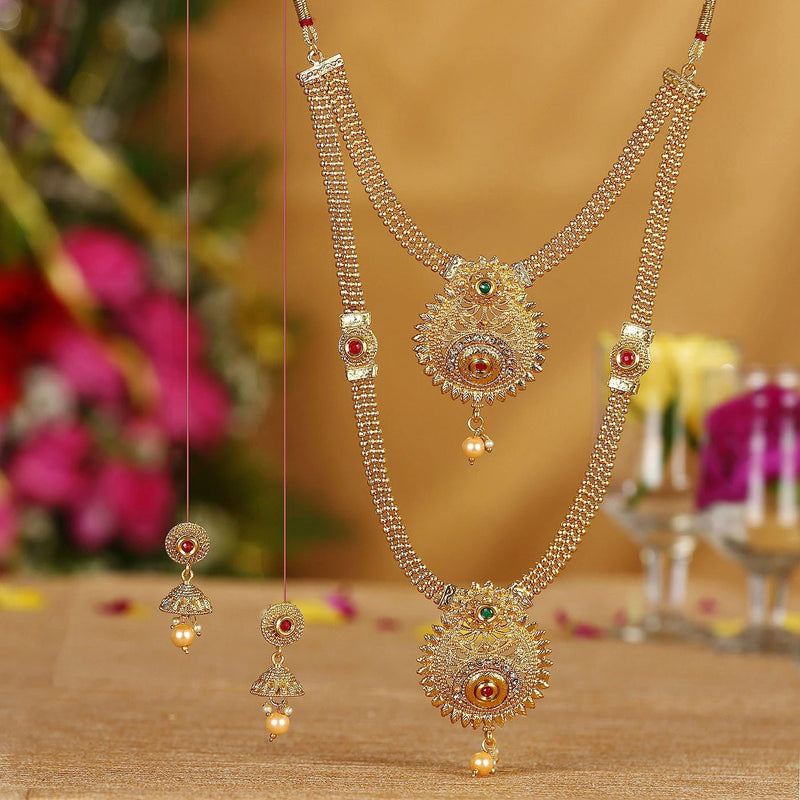 Cluster Gold Plated Necklace Set