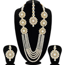 Pearl Kundan Beaded Necklace Set - fashion jewellery