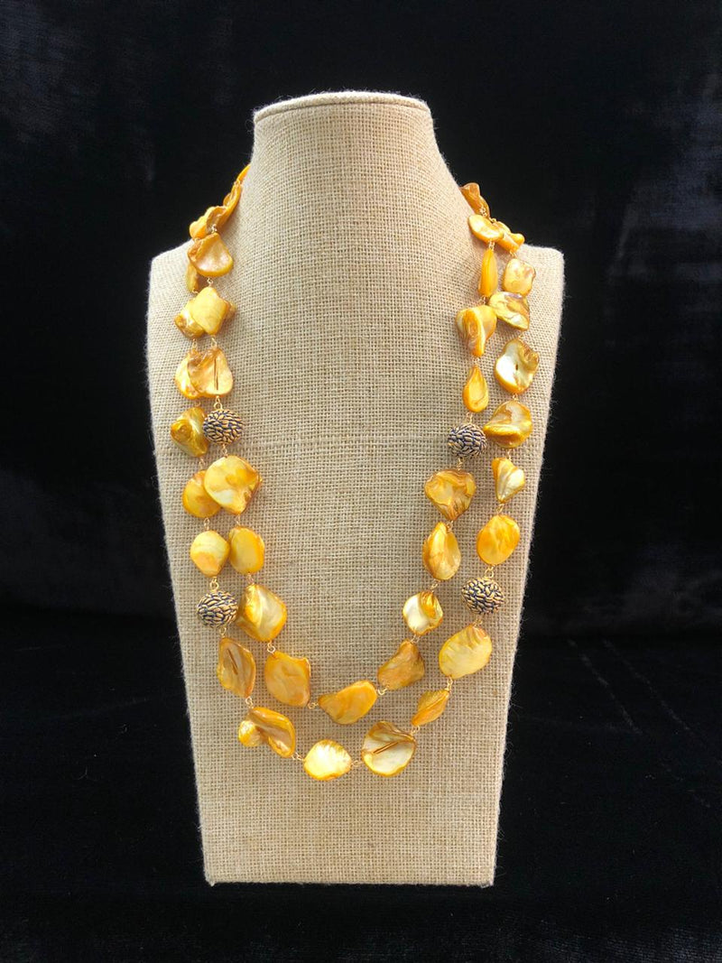 Dandelion Yellow Two Line Agate Necklace