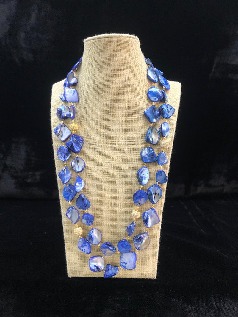 Persian Blue Two Line Agate Necklace