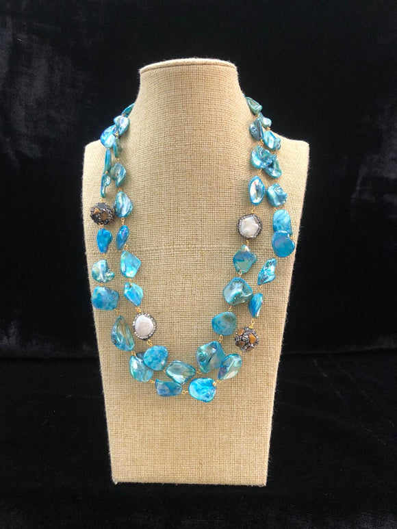 Deep Sky Blue Agate Two Line  Necklace