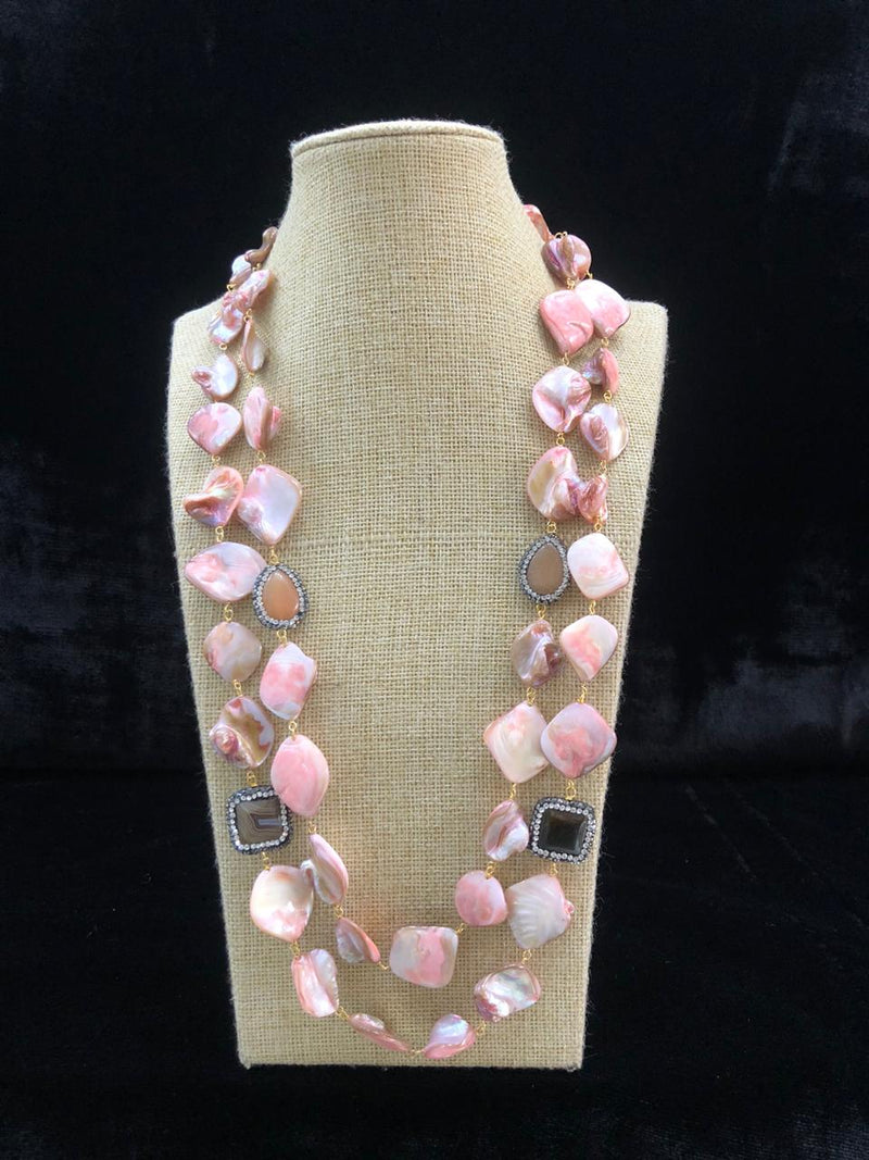 Crepe Pink Agate Two Line Necklace