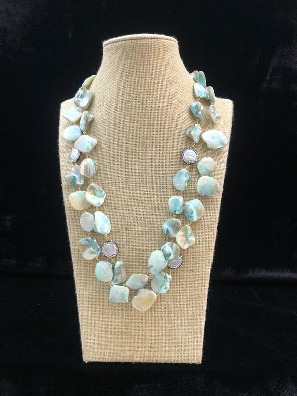 Mint Green Agate Two Line  Necklace