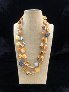 Fire Yellow Agate Two Line  Necklace