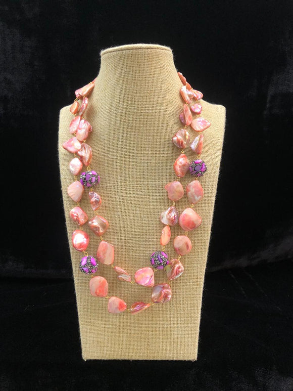 Peach Pink Agate Two Line  Necklace