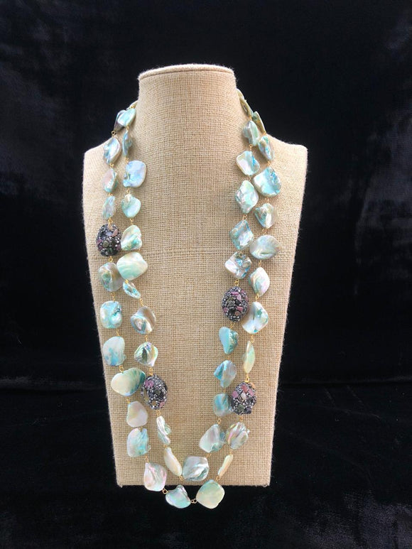 Shades of Light Blue Agate Two Line  Necklace