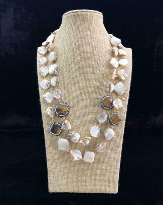 Two Stranded White Agate Stone Necklace - Fashion Jewellery