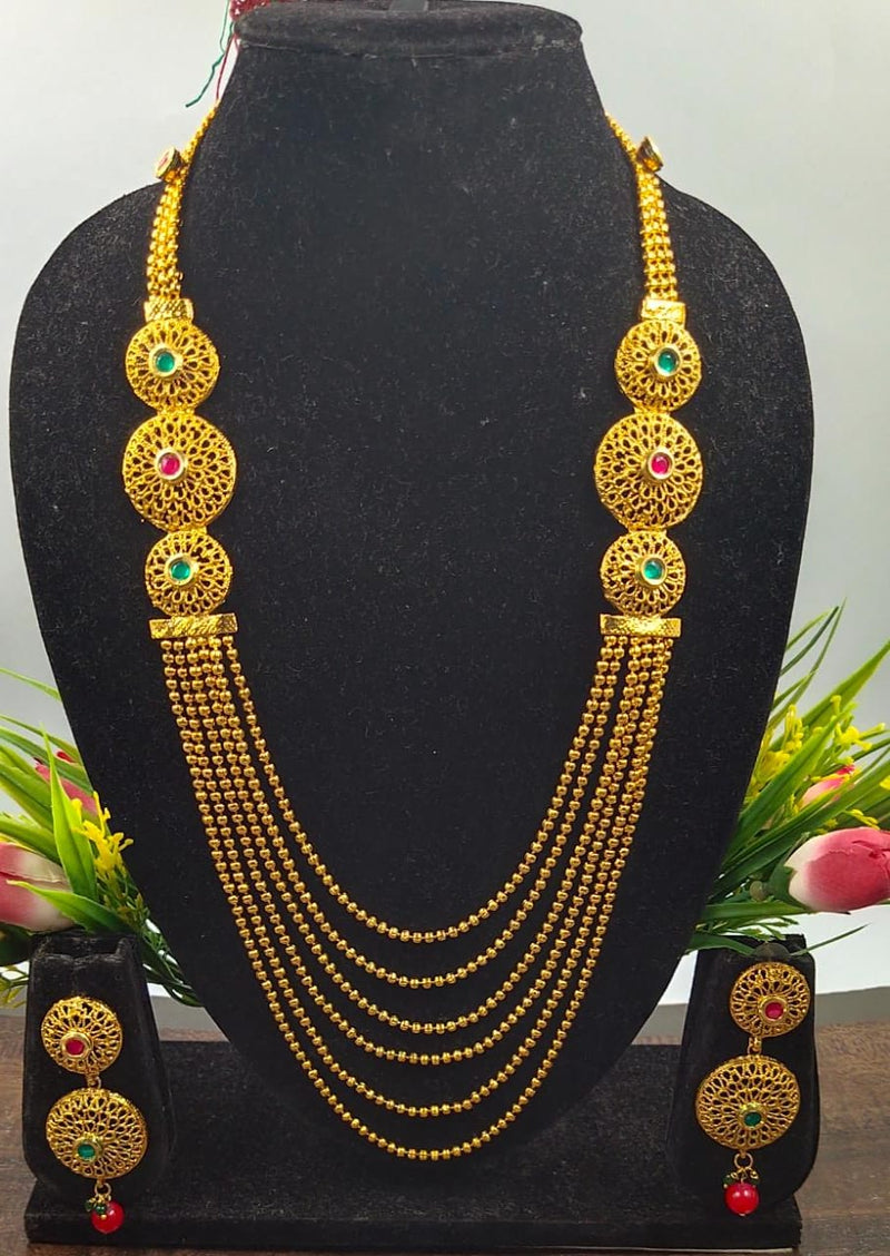 Chain Twisted Gold Plated Designer Necklace Set