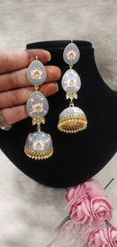 Casual Feminine Meenakari & Pearl Earrings