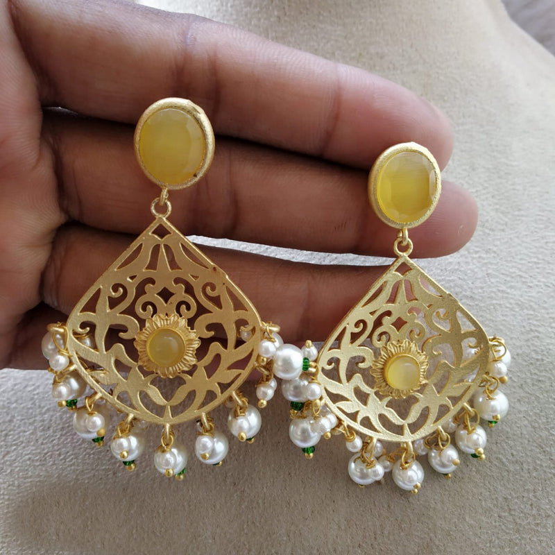 Graceful Gold Pearl & Gemstone Earrings