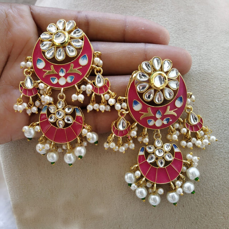 Eye Catching Fine Detailed Meenakari & Pearl Earrings