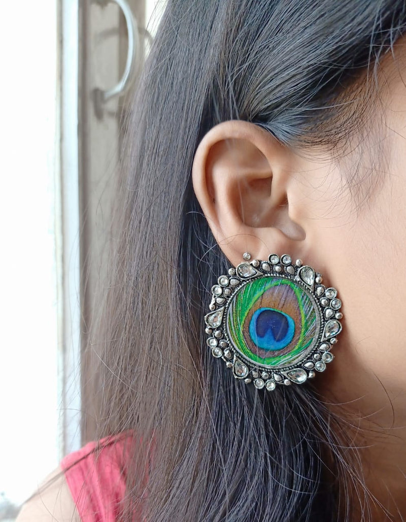Peacock Feather Designed Elegant Earrings