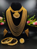 Ornate Native Pearl & Gold Plated Necklace Set