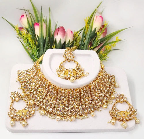 Ceremonial Flax Golden Gemstone & Kundan Choker Necklace Set