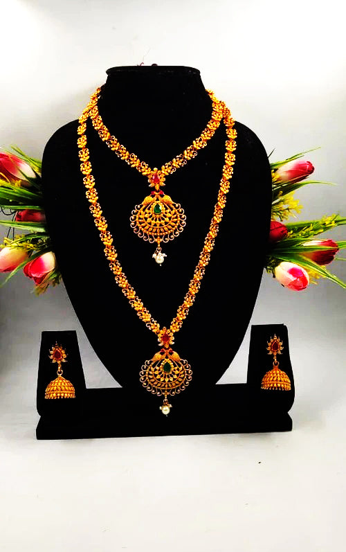 Lovely Garish Golden Pearl & Gold Plated Necklace Set