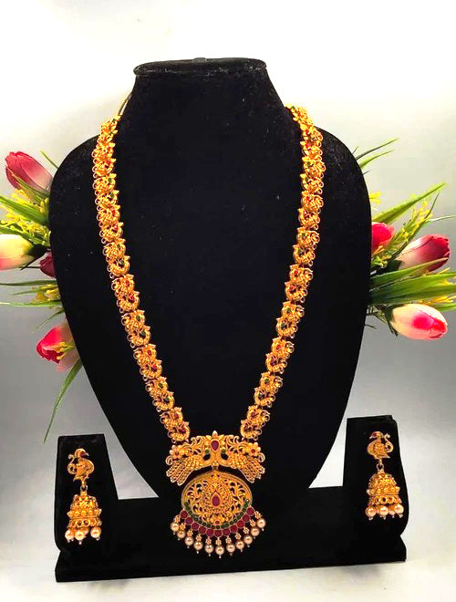 Heavy Solid Gold Pearl & Gold Plated Necklace Set