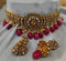 Finely Detailed Sanguine Red Gemstone & Kundan Choker Necklace Set