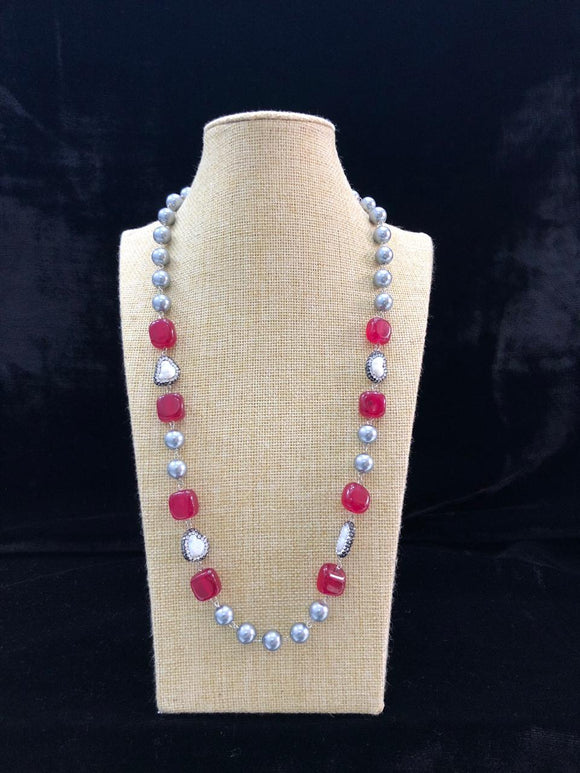 Silver Pearl Beaded Red Necklace