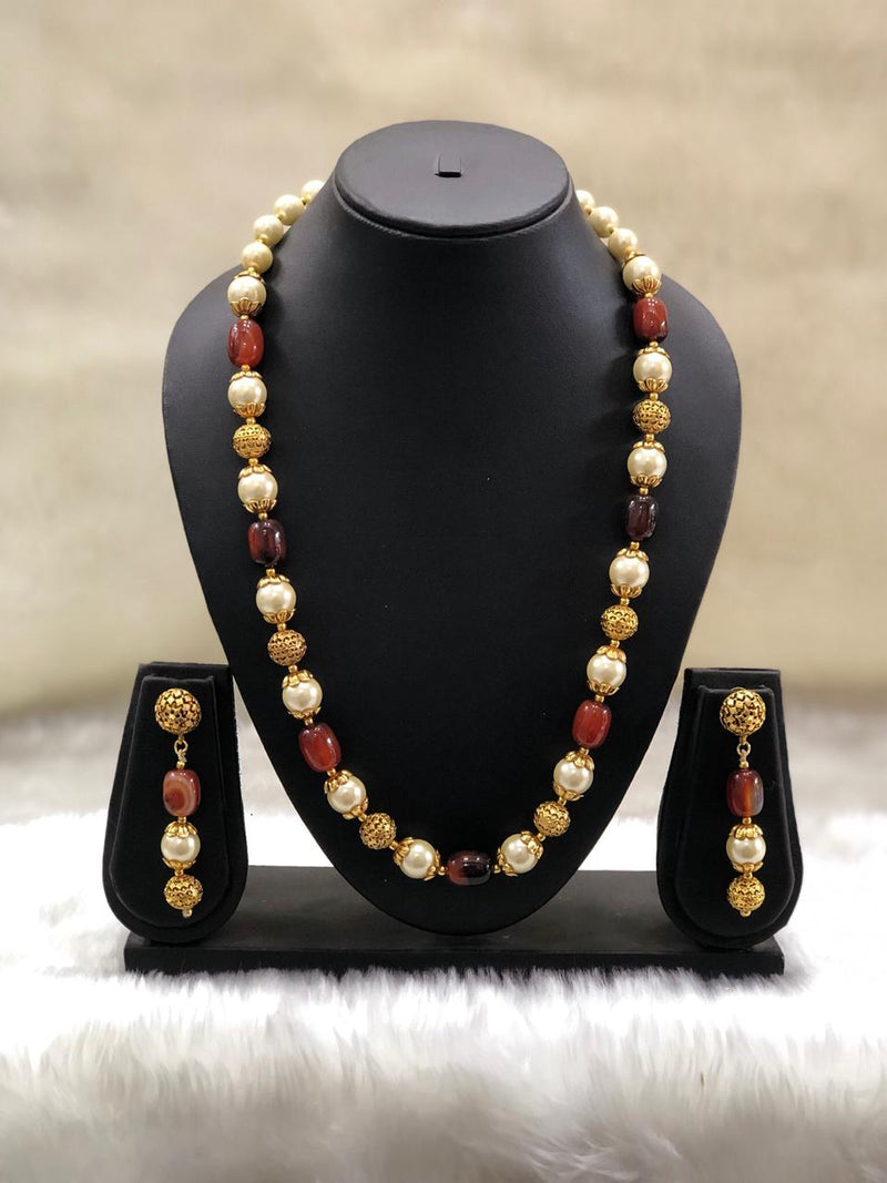 Single Line Brown Beaded Necklace Set