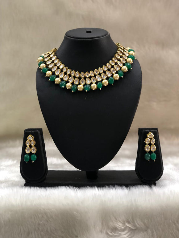 Kundan Green and Gold Necklace Set