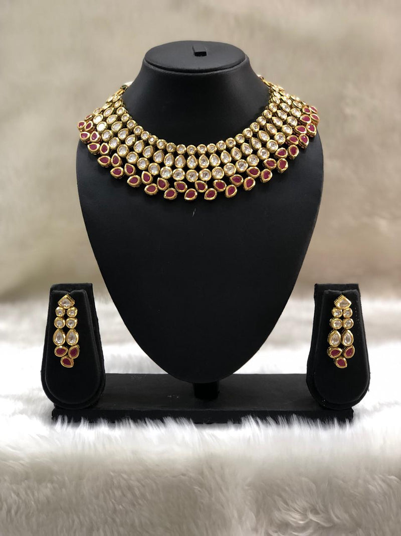 Luxurious Red Kundan Necklace Set