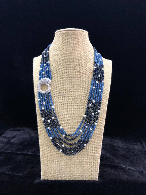 Shades of Blue Side Pendant Necklace