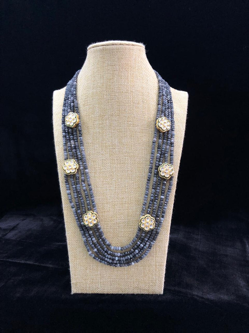 Black Flowered Crystal Necklace