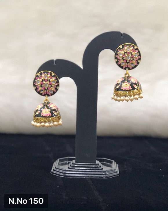Black Enamel Kundan Earrings-FASHION KIDA-Fashion Kida