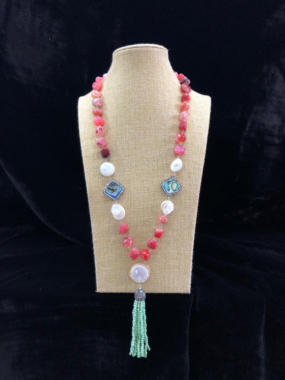 Red in White Beaded Decorative Necklace