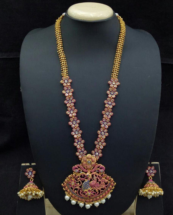 Long Designer Gold Plated Necklace Set