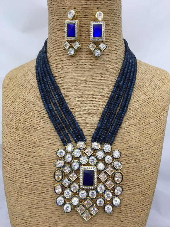 Crystal Navy Blue Kundan Necklace Set