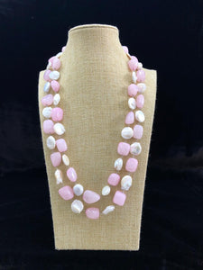 Light Pink Gemstone and Baroque Necklace