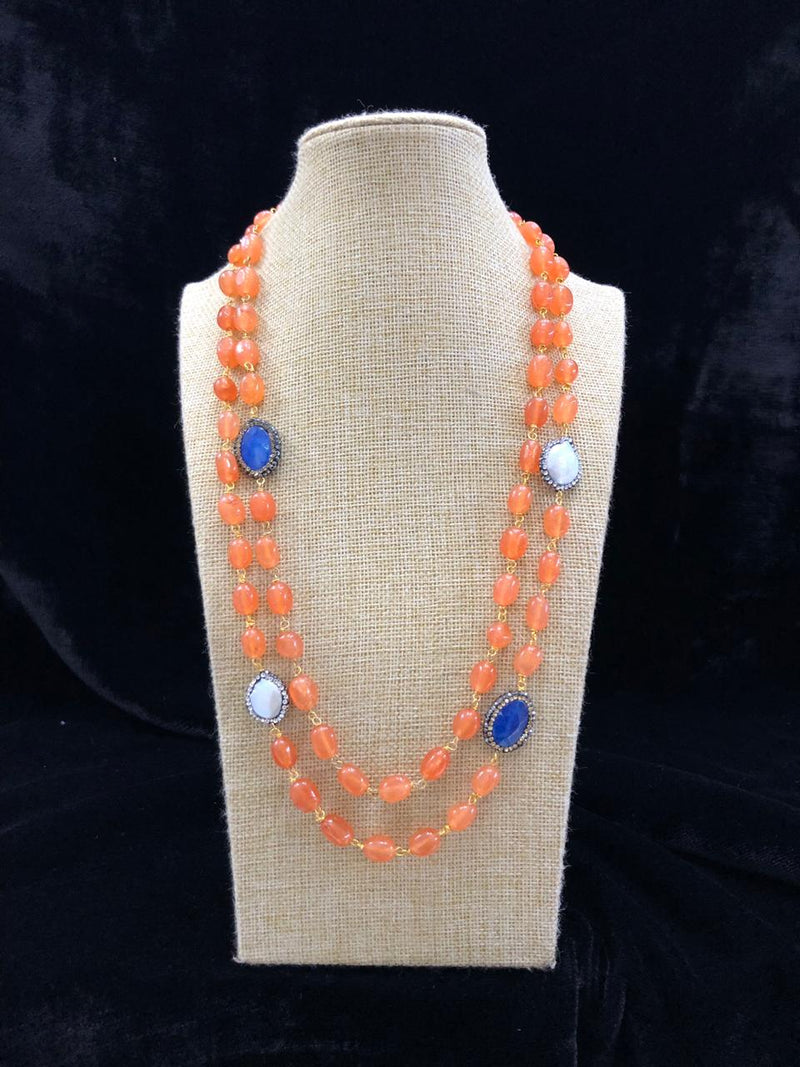 Two Line Orange Baroque Necklace