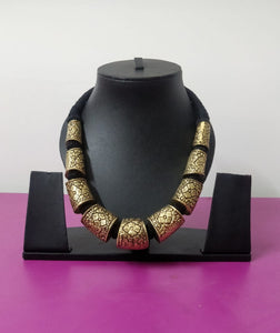 Temple  Black Threaded Gold Plated Necklace