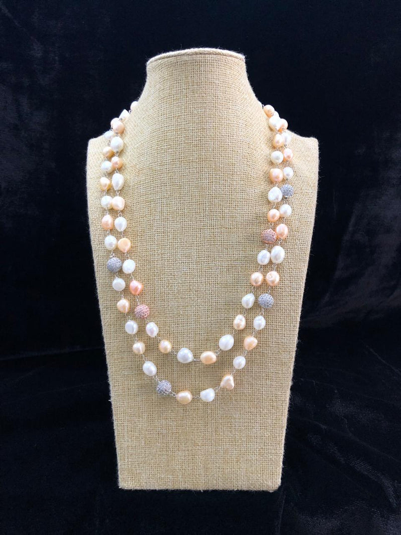 Shades of Peach Pink Pearl Two Line Necklace