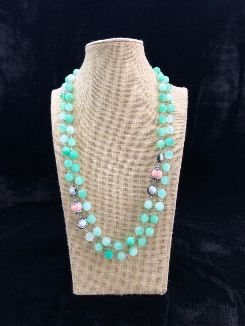 Two Stranded Sky Blue Decorative Necklace