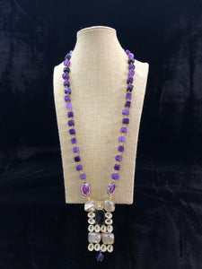 Long Bricks Purple Agate Necklace