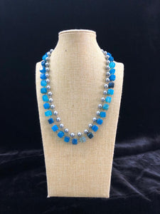 Two Line Shades of Blue Pearl Necklace