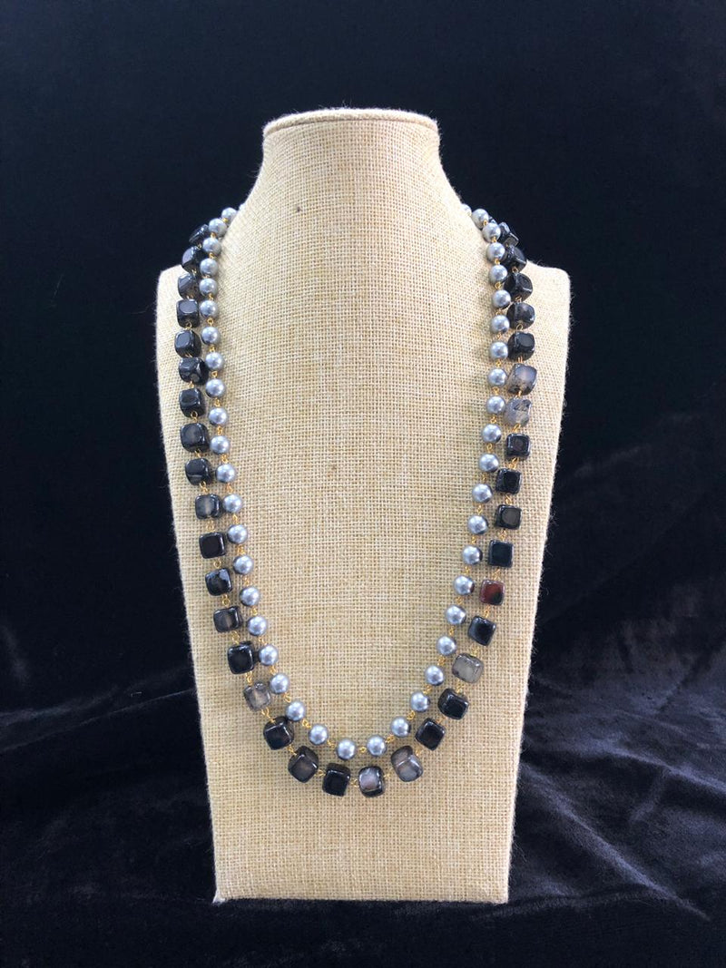 Black and Silver Pearl Gemstone Necklace