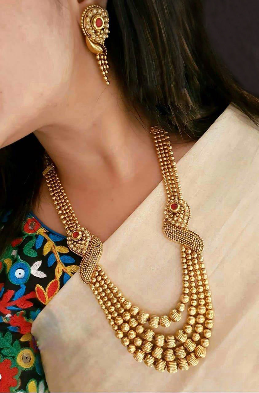 3bf2309fe3ce6 Classic Gold Plated Long Necklace Set