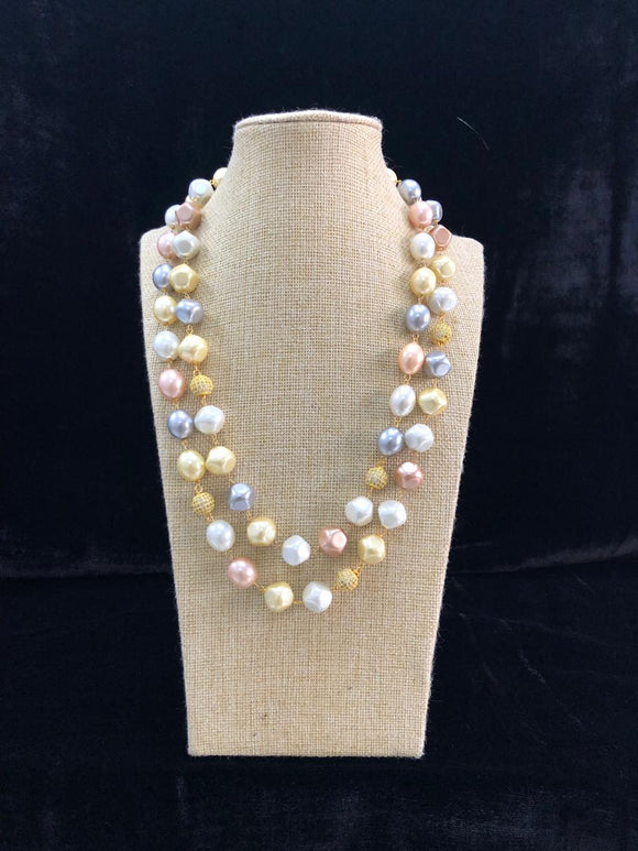Mesmorizing Two Line Pearl Toned Necklace