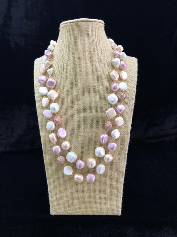Shades Of Pink Two Line Pearl Necklace