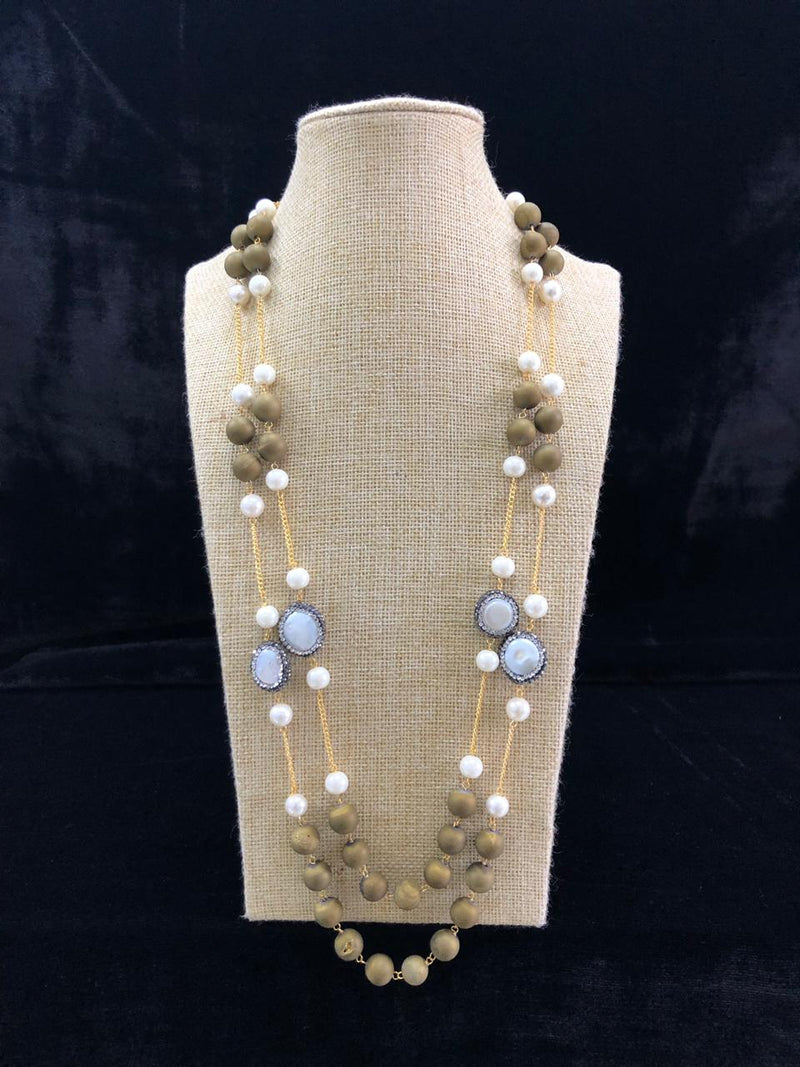 Two Line Greenist Baroque Pearl Necklace