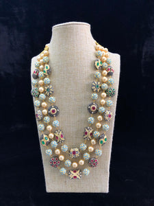 Three Stranded Intriguing Meena Necklace with Earrings