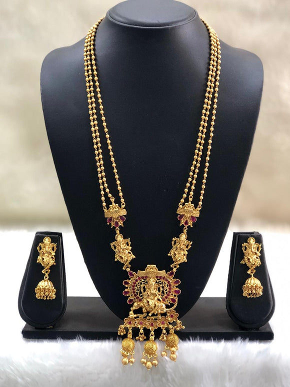 Praised Lord Ganesha Red Temple Necklace Set