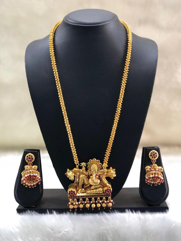 Long Ganpati Temple Necklace Set