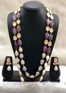 Pink and White Baroque Necklace Set