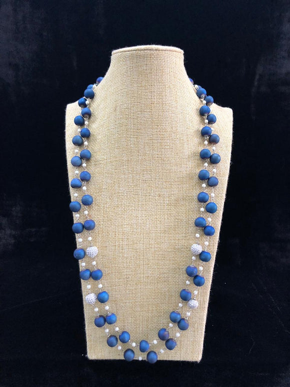 Blue Crystal Ball Decorative Necklace