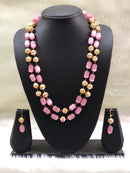 Layered Light Pink and Gold Beads