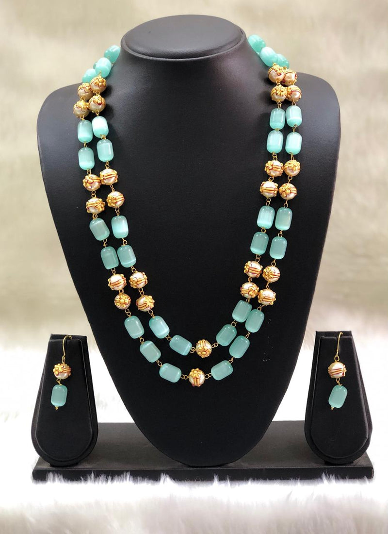Layered  Sky Blue and Gold Beads